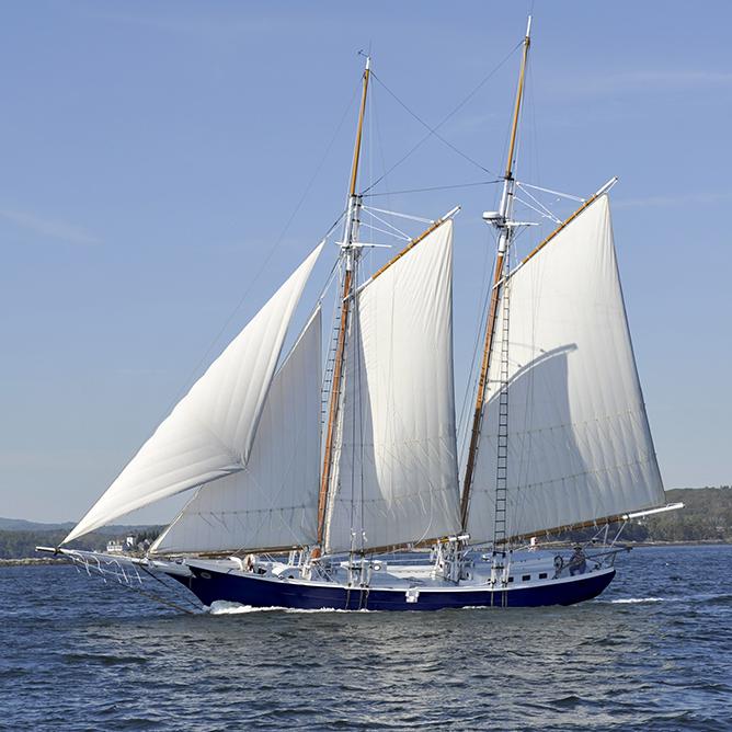Schooner CHARM sailing on Penobscot Bay, Maine.