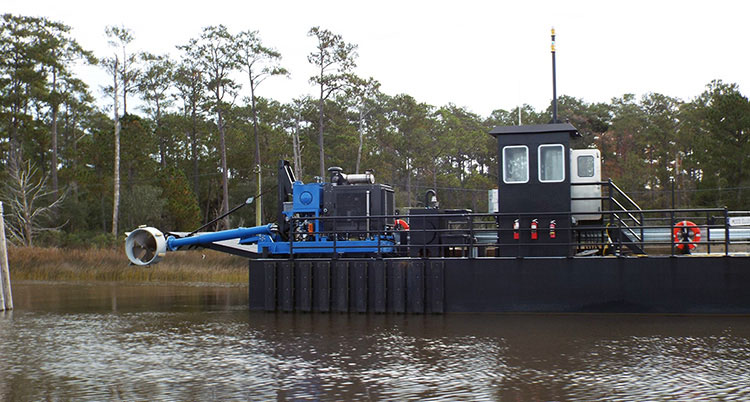 A barge inside the ICW canal.