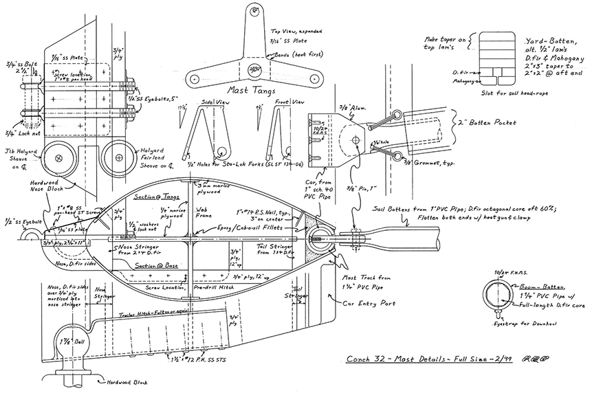 Construction details for the Conch 32 lower mast.