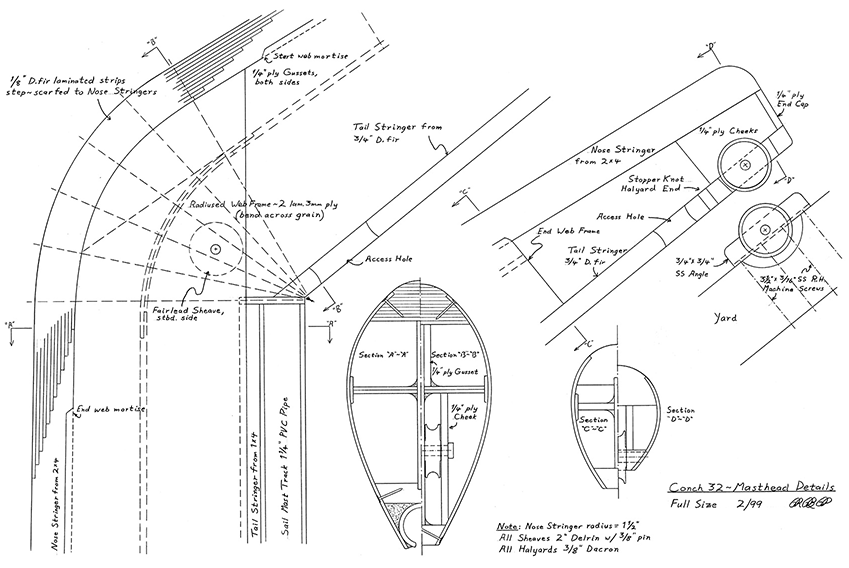 Construction Details for the Conch upper mast.
