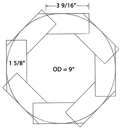 Octagonal/round mast section.