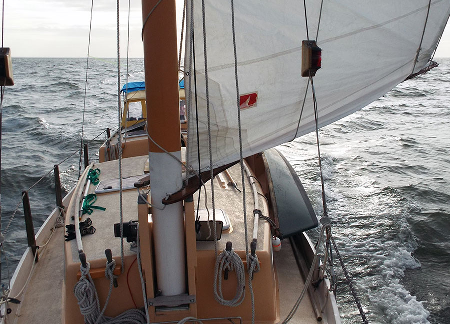 Motorsailing IBIS with foresail and diesel engine.