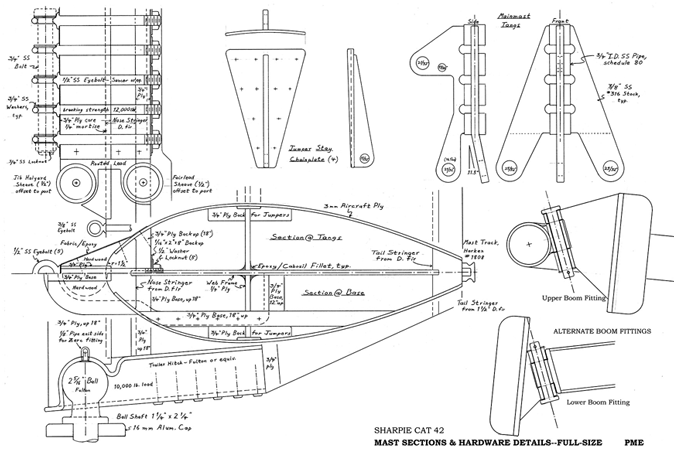 Mast design sections Sharpie Cat 42.
