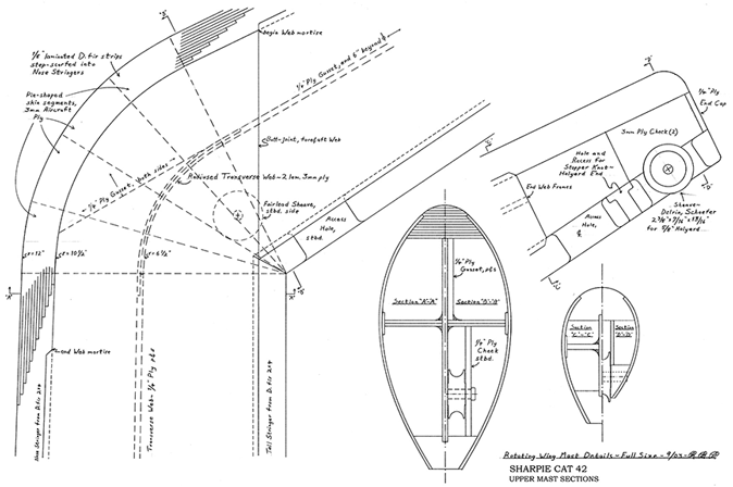 Mast design sections for Sharpie Cat 42.