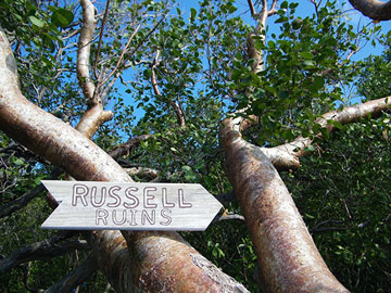 Russell Family ruins sign.