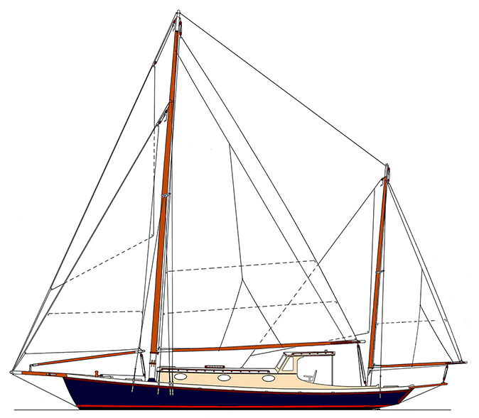 The author's Yawl 43 sail plan.