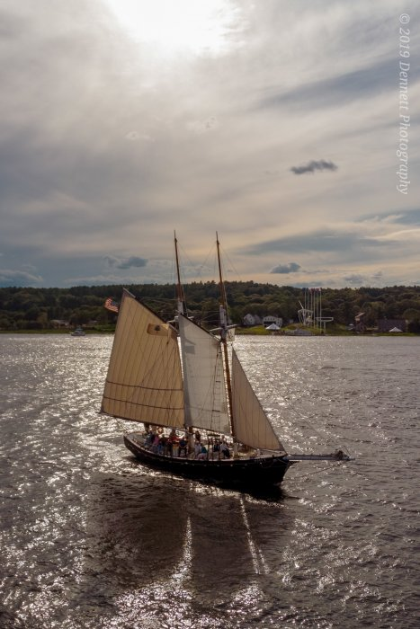MARY E under sail in the Kennebec River. Photo ©Dennett Photography.